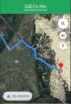 Олешковские пески на карте