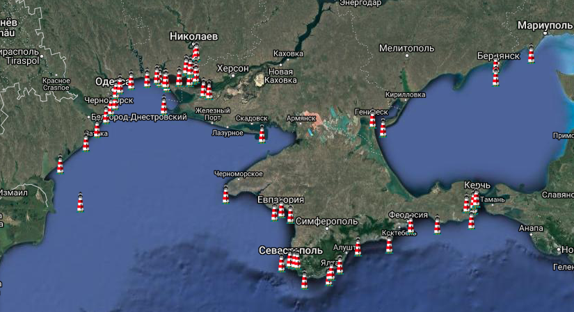 маяки Украины на карте