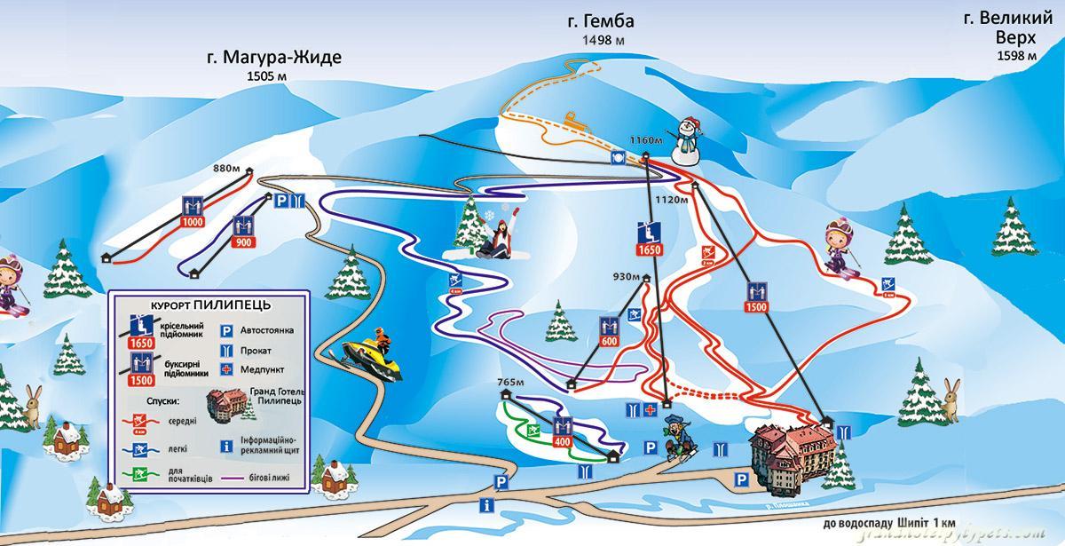 Схема трасс горнолыжного курорта Пелипец