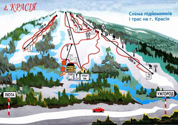 Схема трасс горнолыжного курорта Калия