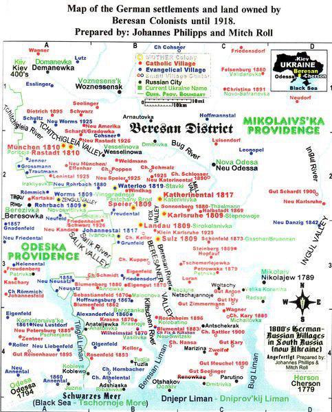 Карта немецких колоний Николаевщины