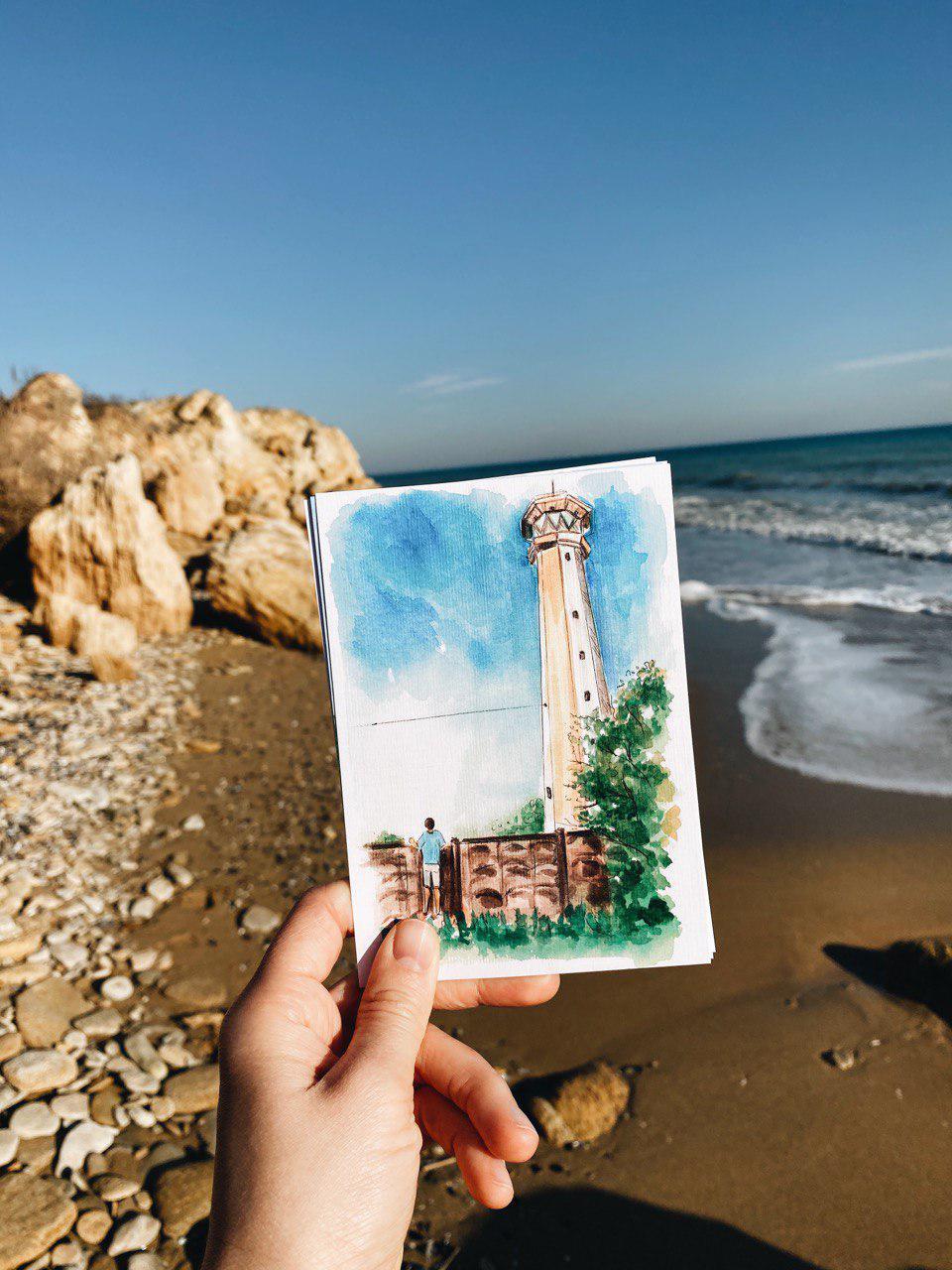 Акварельна листівка з Руським маяком